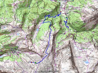 Cartographie de la piste de ski des Cascades � Flaine (Grand Massif)
