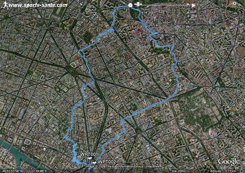 Carte Google earth : Randonn�e p�destre et visite de Paris