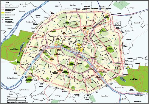 paris plan arrondissement. Carte pistes cyclables à Paris