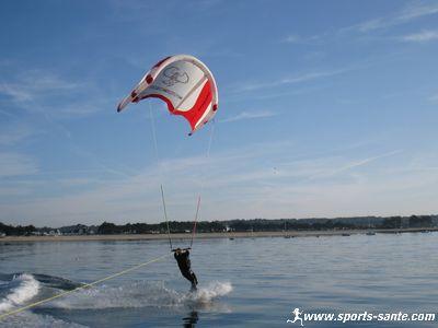 Nouvelle session de wake kite en baie de Fouesnant